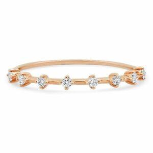 0.12 CT 14K Rose Gold Natural 8 Round Diamonds Thin Dainty Minimalist Band Ring