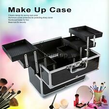 Large Cosmetic Organizer Box Make Up Case Lockable 3 Layers Black J4H5
