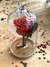 Forever Eternal Real Preserved Single Red Rose Glass Dome Beauty & Beast Gift