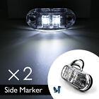 2x White LED Side Marker Light Clearance Lamp Car Truck Trailer Caravan 12V