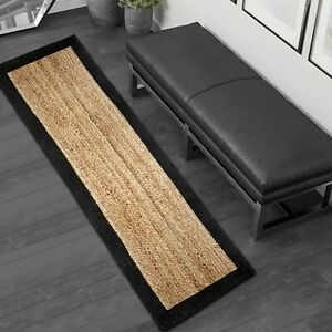 Runner Rug 100% Natural Jute Braided Style Carpet rustic look Carpet Area Rug