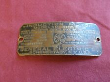 VINTAGE GENERAL ELETRIC GE INDUCTION ELETRIC MOTOR BRASS TAG NAME PLATE SIGN