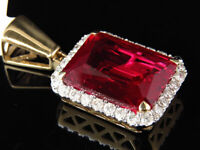 Men's 10K Yellow Gold Royal Red Gemstone Genuine Diamond Pendant Charm 1.0ct.