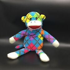 Dan Dee Blue Pink Purple Argyle Blue Monkey Soft Stuff Plush Toy Animal