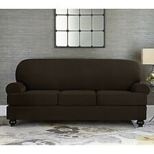 Sure Fit Sofa Slipcover Stretch Suede Chocolate Box or T Style Seat Cushions 4pc