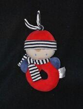 Peluche doudou lutin garçon COROLLE rouge bleu écharpe grelot 15 cm TTBE
