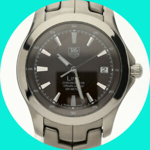 Tag Heuer link black dial automatic mens watch WJF5112 stainless steel 39 MM