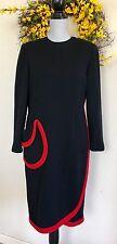 BILL BLASS Vintage Black & Red Wool Mod Shift Dress 10