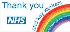 THANK YOU NHS & KEY WORKERS OUTDOOR PVC BANNER - PRINTED SIGN VINYL BANNERS