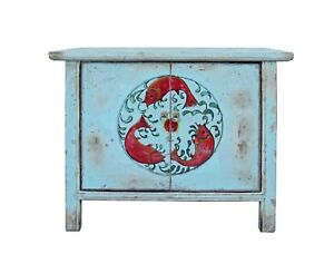 Chinese Distressed Light Pale Blue Fishes Graphic Table Cabinet cs3970