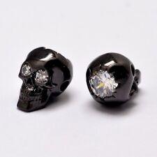 10pcs Grade AAA Gunmetal Skull Brass Beads Micro Pave Cubic Zirconia Gifts