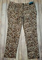 Worthington Womens Pants Ankle Size 8 Leopard Animal Print Stretch NEW $44