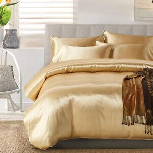 100% Satin Silk Bed Sheet Set Home Decor Bedding Set Luxury Large King