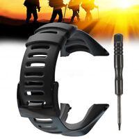 For SUUNTO Ambit 3 PEAK/Ambit 2/1 Rubber Replacement Watch Band Soft Black Strap