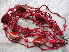 """Declaración 17-23"""" Cerámica Glaseada Rojo Multi Strand grano de cristal collar de 140 gramos."""