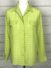 LIZ BAKER Green Button front Long Sleeve Semi Sheer Top Women's Size 6