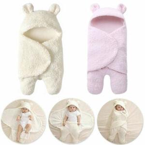 Infant Newborn Fleece Teddy Bear Blacket Swaddle Baby Hooded Wrap Sleeping Bag