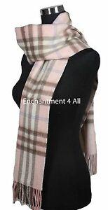 "Handmade 70"" Classic SCOTTISH PLAID 100% 2-Ply Cashmere Scarf Muffler, Baby Pink"