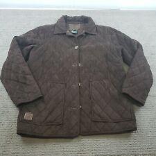 Lauren Ralph Lauren Suede Style Jacket Brown Equestrian Quilted Front Pockets PP
