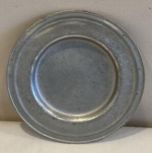 "Rustic Silver Tone Metal Plate Dish 8.25"" Heavy Primitive"