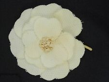 """Camellia Corsage Pin Brooch ~ 3"""" Vintage Classic Beige Fabric Flower Chanel"""