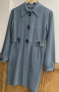 Women's Long Line Charcoal Grey Cardigan/Coatigan size 12uk By M&S Collard Neck