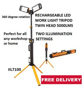 IGNITE RECHARGEABLE LED WORK LIGHT TRIPOD TWIN HEAD 5000LMS IIL7100
