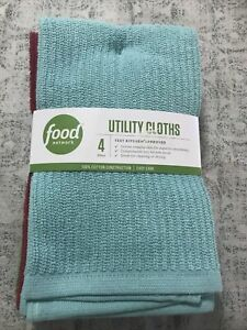 FOOD NETWORK~QUICK DRY UTILITY CLOTHS SET /4~New With Tags~100% Cotton~ Kohl's