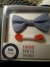 "New Boys Izod Blue & White Adjustable Bow Tie Adjusts to 13 3/4"" - 18"" NeckAnd"