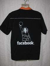 "FACEBOOK sz M  Employee ""OVER THE LINE"" BOWLING SHIRT Orange Black Short Sleeve"