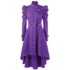 Womens Gothic Retro Steampunk Victorian Jacket Swallow Tail Long Trench Coats