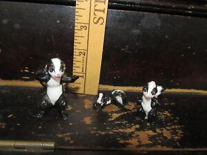 """Vintage lot of 3 """"Bone China"""" skunks Made in Japan"""
