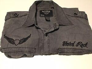 Hard Rock Cafe Men's Grey Long Sleeve Shirt Size LARGE  Classic Retro