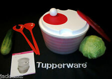 Tupperware NEW 4 Qt SHEER Bowl ~RED Spin n Save Salad Spinner ~Fork Spoon Tongs