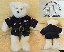 "15"" Applause WHITE BEAR Plush MILITARY DRESS UNIFORM Wire Glasses Stuffed Animal"