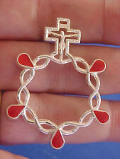 5 WOUNDS of CHRIST JESUS Finger Rosary Silver Metal Pocket Rosary Red Enamel
