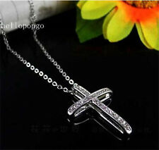 18K White Gold Gp Austrian Crystal Plated Cross Jewelry Chain Necklace BR1314