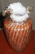 "10"" ART NOUVEAU KRALIK WELZ SILVERIA ROSE STRIPED VASE STEVENS WILLIAMS ERA"