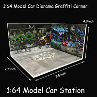1:64 Model Car Diorama Graffiti Corner Scenery Photo Background Parking Station