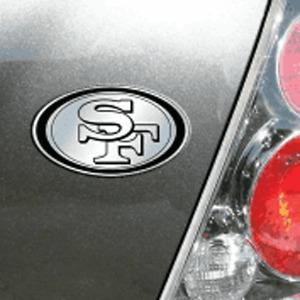 San Francisco 49ers 3D Emblem Raised Chrome Color Die Cut Auto NFL Decal Sticker