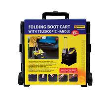 35KG Folding Boot Cart Shopping Trolley Fold Up Storage Box Crate Foldable BLACK