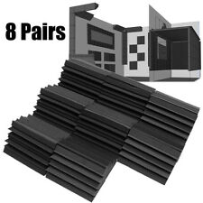 "8Pcs 4.7x4.3x 9.45 "" Corner Bass Trap Acoustic Studio Soundproof Foam Black"