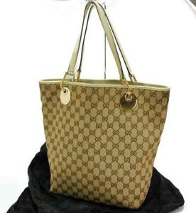 Auth GUCCI GG Canvas Shoulder Tote Bag Brown 1016a