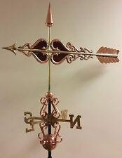 Beautiful unique elegant red glass arrow Copper Weathervane, Complete + mount