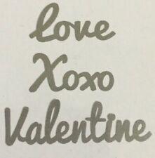 love, Xoxo, Valentine Wreath Metal Cut Word Signs: 3 total