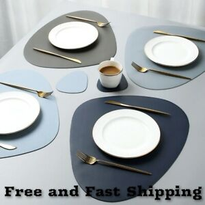 Placemat Table Mat Tableware Dining Leather Waterproof Heat Insulation Non-Slip