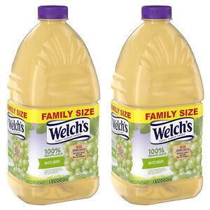 (2 Pack) Welch's 100% Grape Juice, White Grape Vegan Low Sodium 96 Fl Oz Bottle