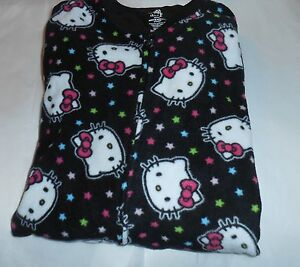 Hello Kitty by Sanrio Junior One (1) Piece Footed Fleece Pajamas Black Large (L)
