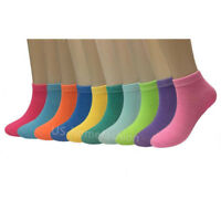 New Lot 6 12 Pairs Womens Candy Color Ankle Socks Cotton Size 9-11