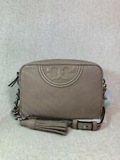 NWT Tory Burch Taupe Distressed Leather Fleming Chevron Camera Bag $428